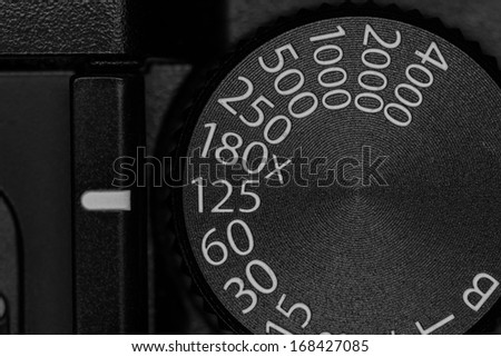 Shutter speed dial on a old style single lens reflex SLR camera