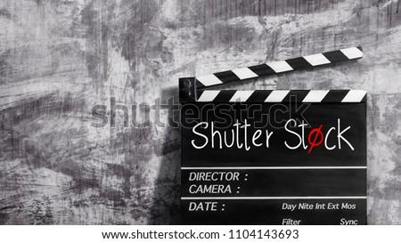 shutter stock text title on clapper board