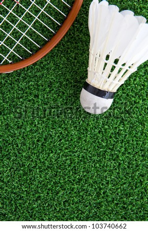shuttlecock on court ,sport concept