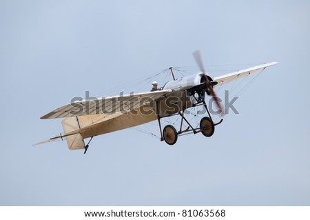 SHUTTLEWORTH, BEDFORDSHIRE - JULY 3: A 1912 Blackburn Monoplane Type - D (Oldest British airworthy plane) in flight at the Air Display on July 3, 2011 at Shuttleworth, Old Warden Park, Bedfordshire, UK