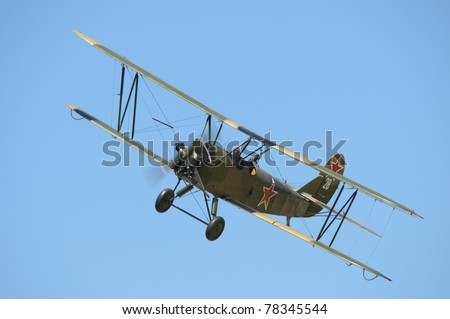SHUTTLEWORTH, BEDFORDSHIRE - MAY 1: Polikarpov PO2 in flight at the Spring Air Display on May 1, 2011 at Shuttleworth, Old Warden Park, Bedfordshire, UK. It is the first ever UK public display of this refurbished plane.