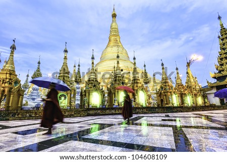 Shwedagon Pagoda Great Dagon Pagoda in Yangon Myanmar in the morning