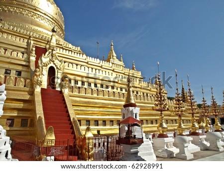Shwezigone Pagoda - Ancient Buddhist Pagodas in Bagan, Myanmar (Burma)