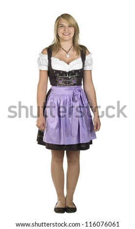 shy blond woman wearing a traditional dress named dirndl