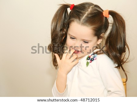Shy little girl - stock photo