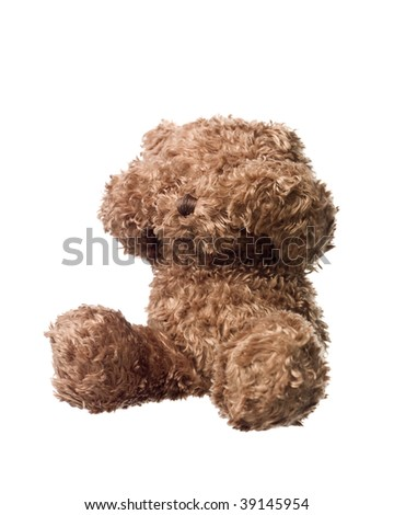 Shy Teddy bear isolated on white background - stock photo