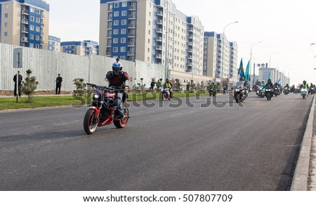Shymkent, KAZAKHSTAN - October 29, 2016: Closing of biker season in Shymkent