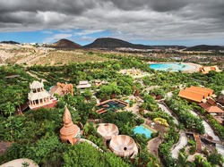 Siam Park aerial view. Water park in Costa Adeje, Tenerife, Canary Islands. A must see spectacular water attraction in Europe.