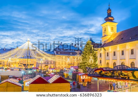 Sibiu Christmas Market, Transylvania, Romania Imagine de stoc ©