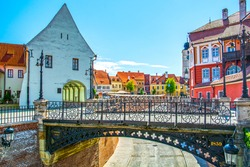 Sibiu, Transylvania, Romania, the Liars Bridge and view of Small Square and Council Tower