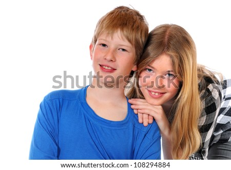 Siblings in front of a white background