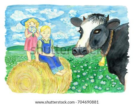 siblings sitting on haystack...