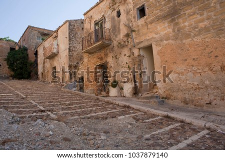 Sicilian towns after earthquake in valley Belice. #1037879140