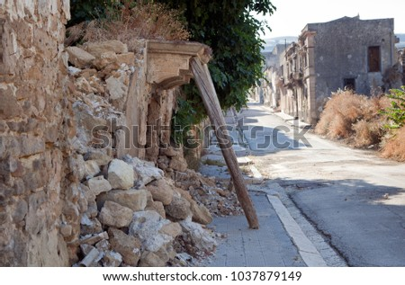 Sicilian towns after earthquake in valley Belice. #1037879149