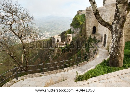 Sicily landscape, sunny day in spring - stock photo