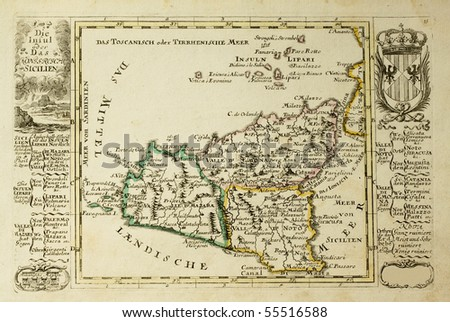 Sicily old map, may be dated to the beginning of the XVIII sec.
