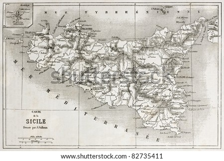Sicily old map with Stromboli isle insert map. Created by Vullemin and Erhard, published on Le Tour du Monde, Paris, 1860