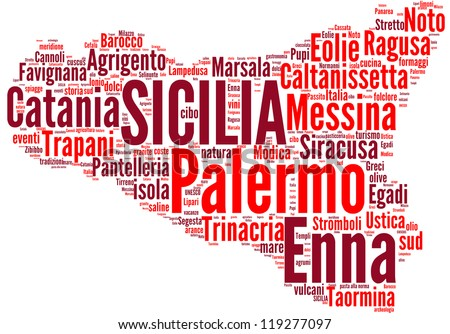 Sicily tag cloud - italian regions