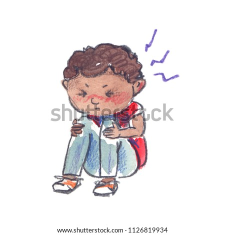 Sick child: small stressed black boy with headache. Illustration painted in watercolor on clean white background