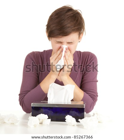 sick girl with flu blowing her nose, series