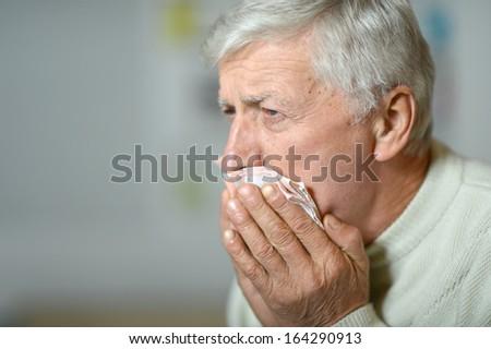 Sick Old Man On Grey Background Background