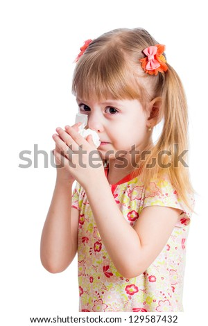 sick or crying kid wiping or cleaning nose with tissue isolated