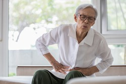 Sick senior patient with belly pain,severe stomach ache,symptoms gastrointestinal system disease,gut,digestion problems,diarrhoea,elderly woman suffer from stomachache,irritable bowel,food poisoning