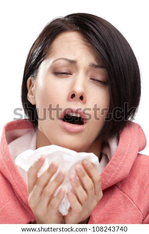 Sick woman holding wipe in her hands, isolated