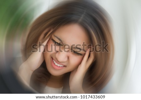 sick woman portrait, stressed girl, dizzy woman, woman with headache suffering from vertigo, dizziness, asian caucasian young adult woman girl female model in sick people medical health care concept