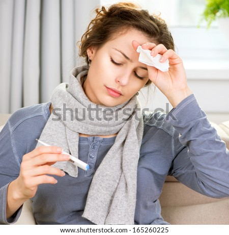 Sick Woman with Thermometer. Headache. Flu. Woman Caught Cold. Virus or Allergy