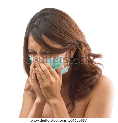 sick women patient sneezing with epidemic protective mask