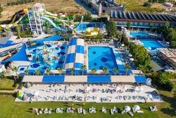 Side aquapark Hotels in Turkey. Vacation resort in Antalya, Turkey aerial drone photo view