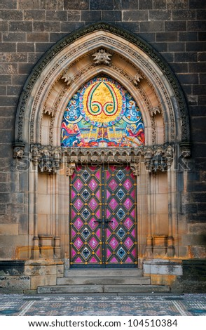 Side entrance door of St. Peter and Paul church in Vysehrad, Prague, Czech Republic
