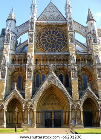 Side entrance to Westminster Abbey, London, England