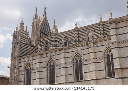 Side facade of the Cathedral of Siena, Italy