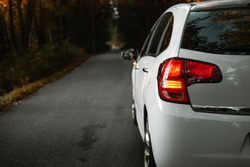 Side mirror turn signal (blinker). Turn indicator on the mirror (left) and white car on the road in autumn dark forest. Illuminated car standing on the edge of the way in forest - natural sunlight.