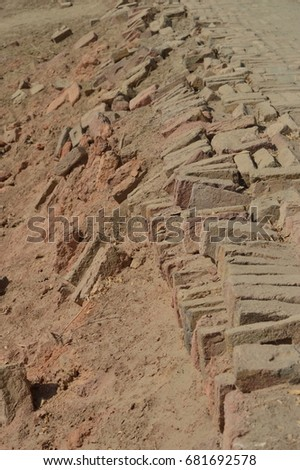 Side of a lane in the ancient city of Mohenjodaro, in Pakistan's Sindh province.