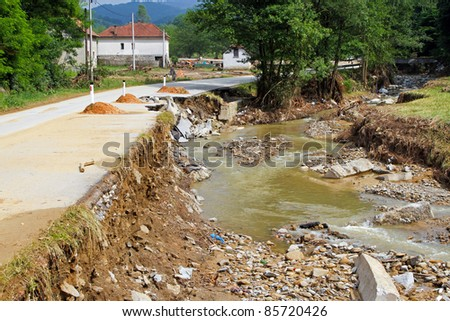 Side of a local road after natural disaster