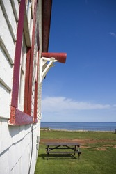 Side of lighthouse overlooking the Atlantic ocean shot in East Point, PEI