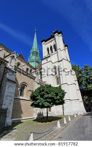 Side of protestant Saint-Peter's cathedral in Geneva, Switzerland, by beautiful weather. The construction started in 1160 and lasted about one century.