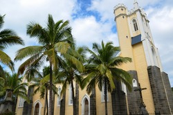 Side of the Notre Dame des Anges church in Mahébourg, Mauritius