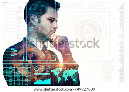 Side portrait of handsome young businessman on abstract digital business chart background. Interface, media and infograph concept. Double exposure  #749927809