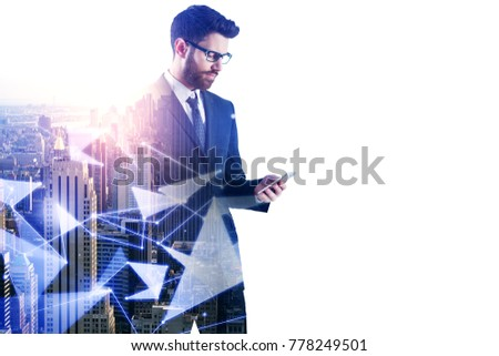 Side portrait of handsome young businessman using smartphone on abstract white city background with copy space and polygonal pattern. Future and social media concept. Double exposure