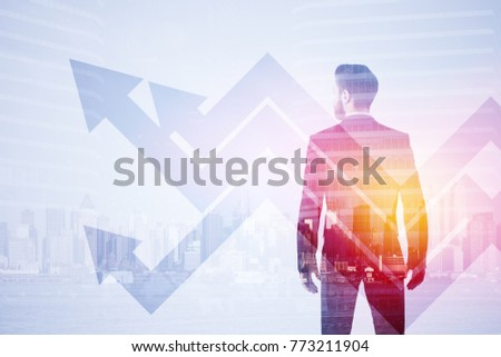 Side portrait of handsome young european businessman on abstract city background with arrows. Forward and development concept. Double exposure
