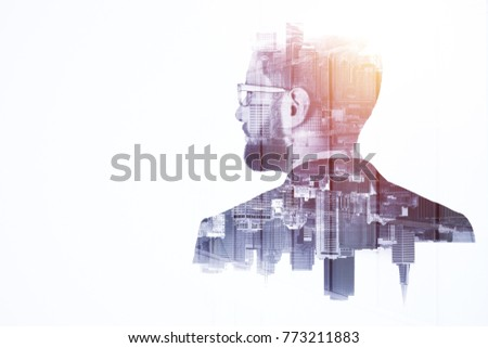 Side portrait of handsome young european businessman on abstract city background with copy space. Think and employment concept. Double exposure