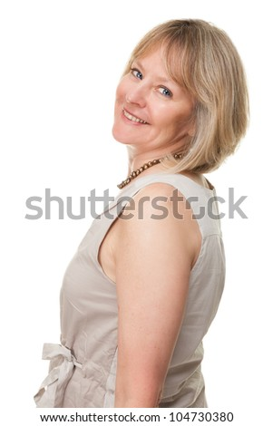 Side Portrait of Happy Smiling Attractive Mature Woman Isolated