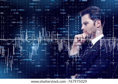 Side portrait of thoughtful handsome young businessman on dark forex background. Broker and trader concept. Double exposure
