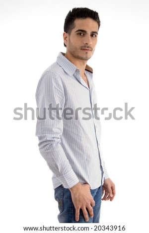 side pose of standing man on an isolated white background