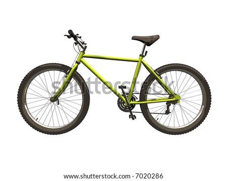 Side Profile Illustration of a Mountain Bike. - stock photo