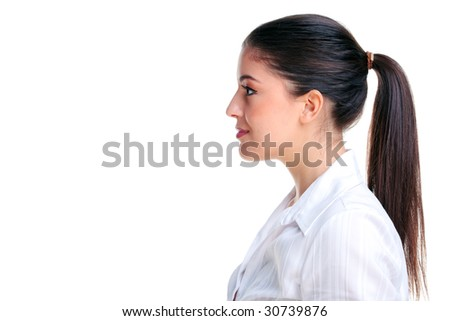 Side profile of an attractive young brunette woman, isolated on a white background.